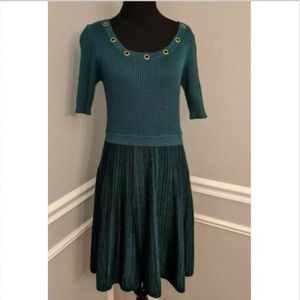 Candie's Green Ribbed Knit Fit & Flare Dress